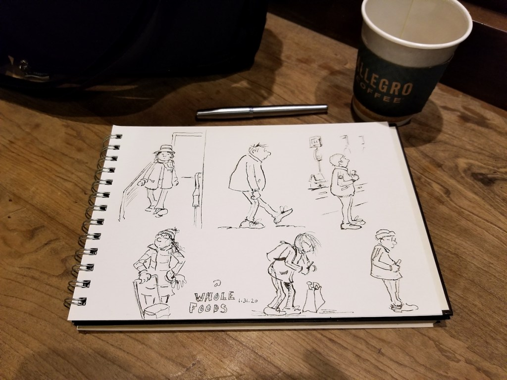 Photo of my sketchbook at Whole Foods