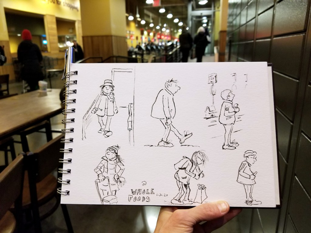 Sketching in the field - in this case, at my local Whole Foods.
