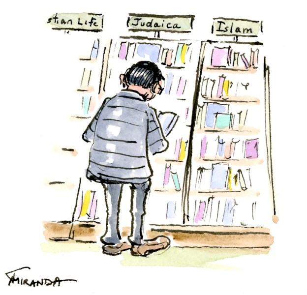 Ink and watercolor cartoon sketch of man browsing Barnes and Noble bookstore - by Joana Miranda
