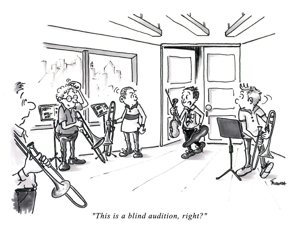 Funny music audition cartoon - Blind Audition, by Joana Miranda