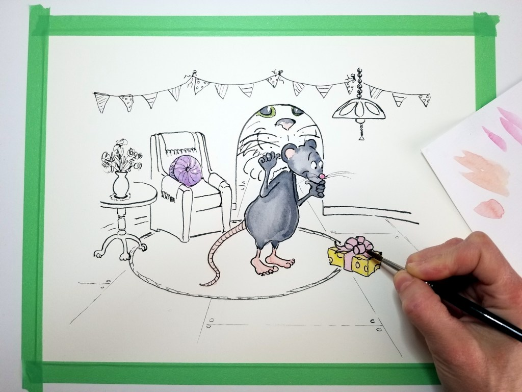 Photo of cat and mouse illustration on my drafting table as I begin the watercoloring process.