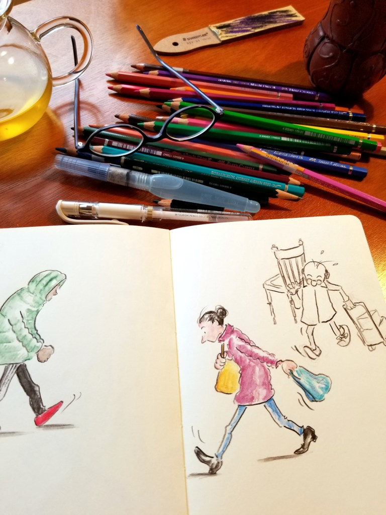 Sketchbook inspiration for lock down days - working at our dining room table.
