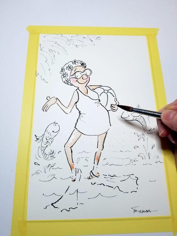 Photograph of Still Fabulous greeting card illustration in progress by Joana Miranda