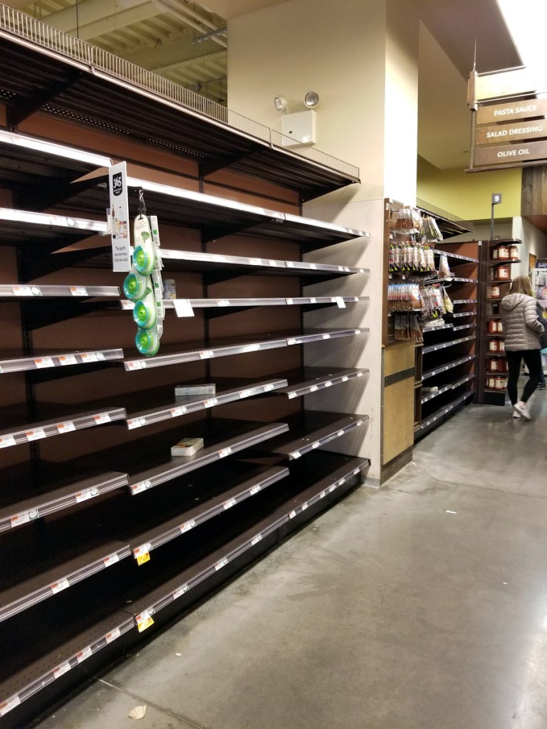 Photo of empty shelves at Whole Foods in New York City during the corona virus scare in March 2020