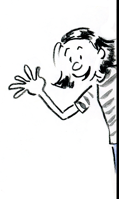 Funny cartoon self-portrait of the artist waving from behind a door