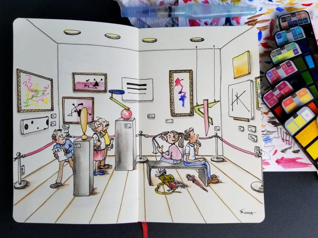 Modern art museum freehand ink and watercolor illustration by Joana Miranda