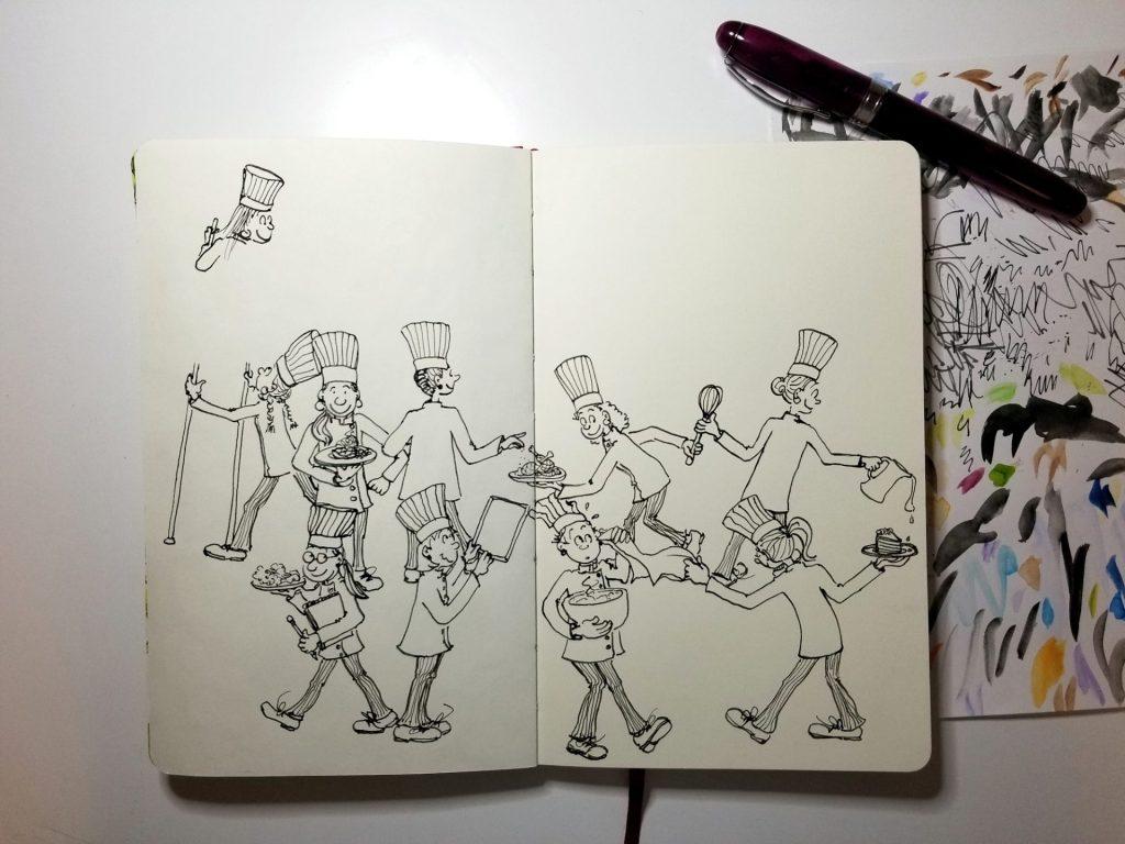 My Le Cordon Rose chef school illustration in process.