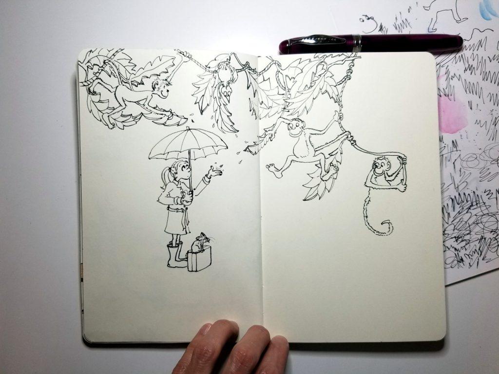 Rainy day illustration in progress, by Joana Miranda