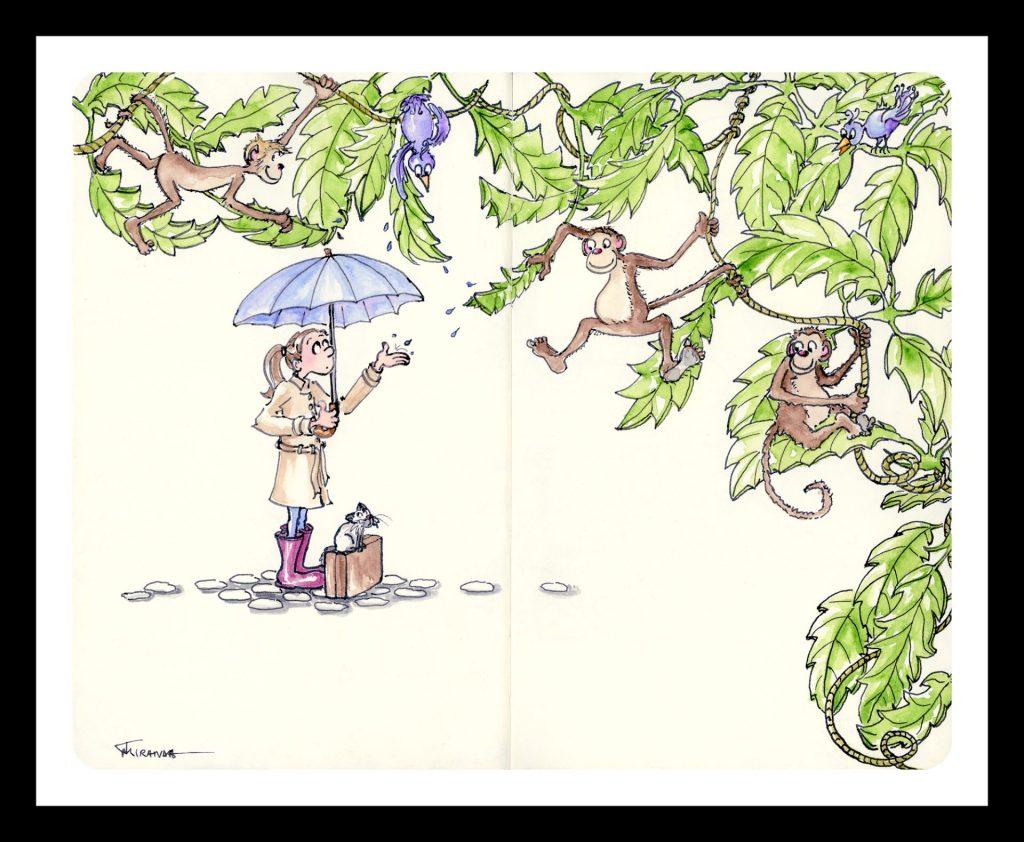 Cheer Up rainy day illustration with black frame, by Joana Miranda