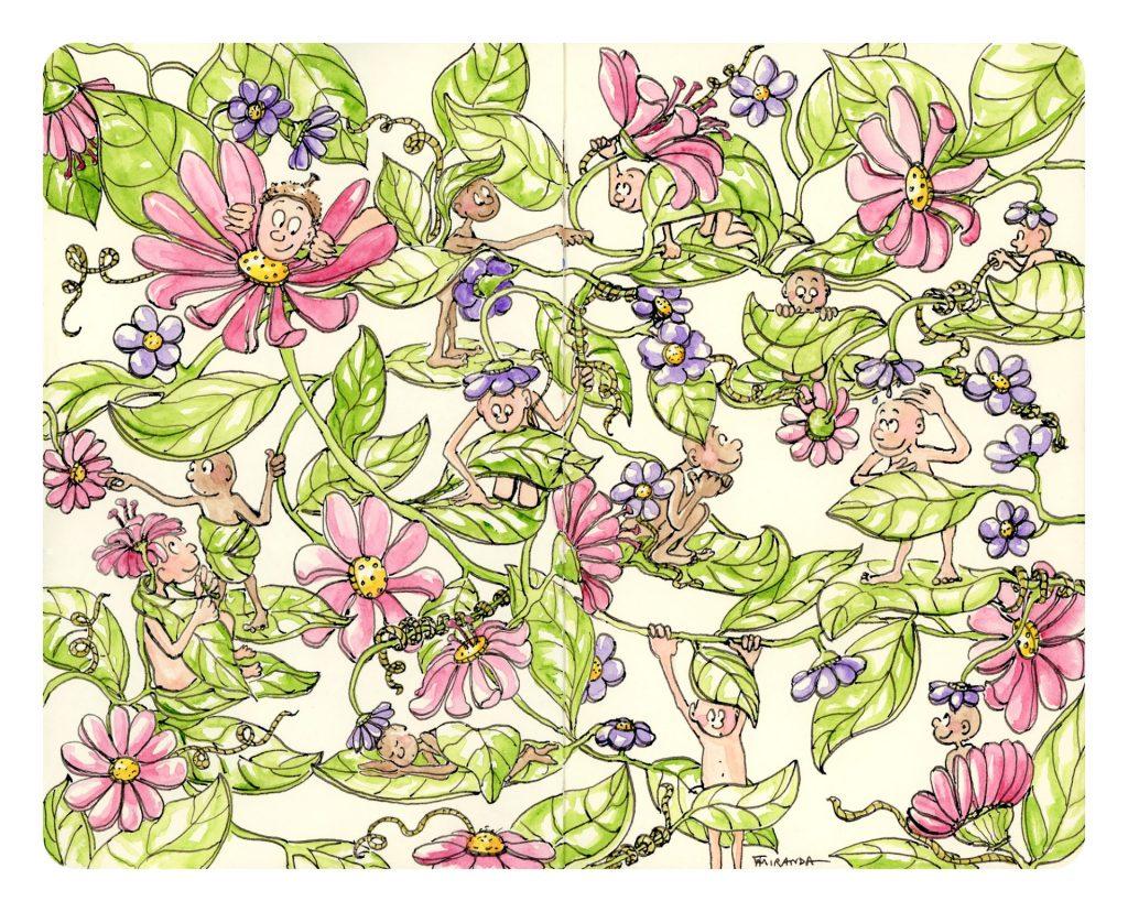 Garden of Eden - Freehand drawn illustration by Joana Miranda
