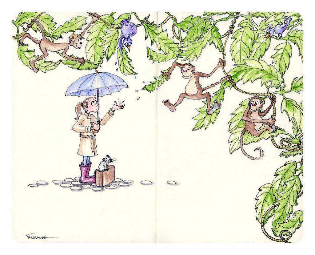 Rainy Day Art - Freehand drawn illustration by Joana Miranda