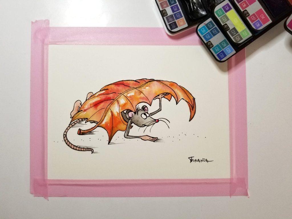 Finished fall mouse art illustration