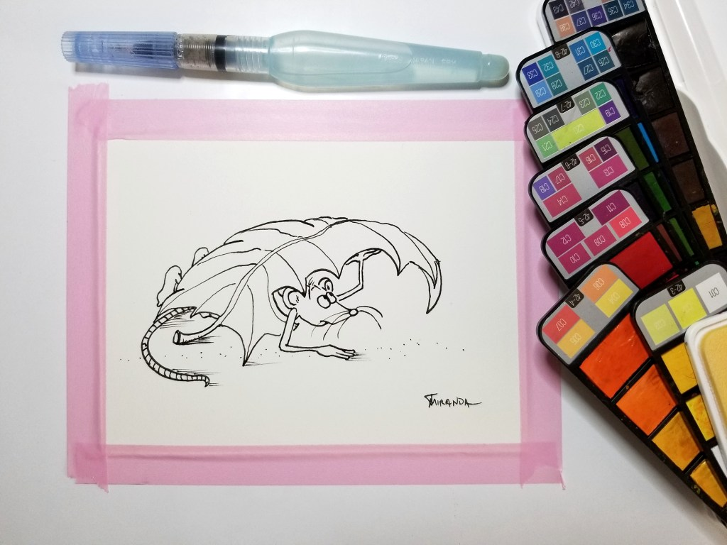 Funny housewarming card.  Mouse art illustration in its inked version.