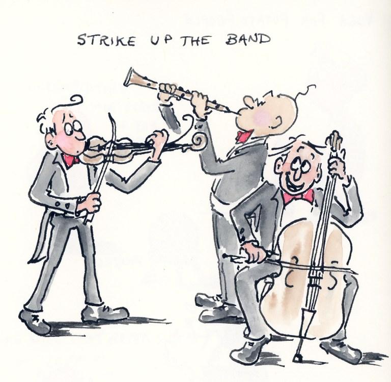 Strike up  the band - funny men cartoon illustration by Joana Miranda