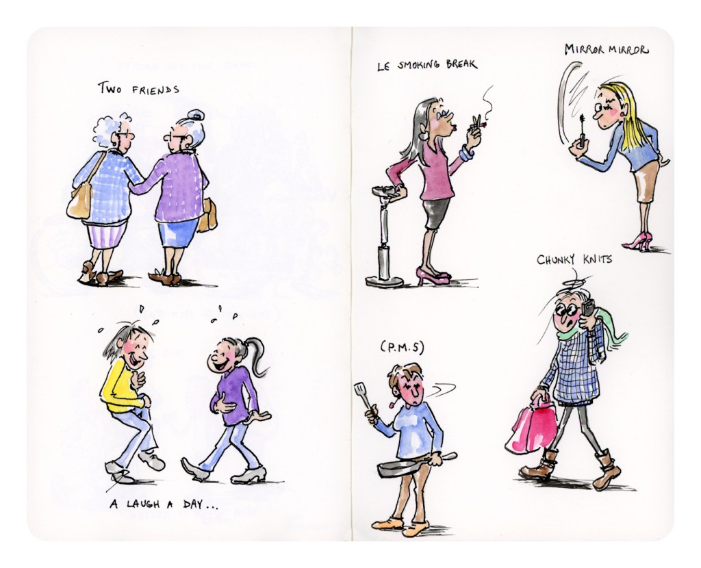 Funny watercolor and ink woman character sketches by Joana Miranda