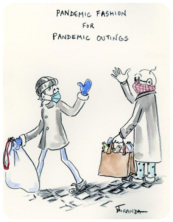 Freehand drawn pandemic cartoon illustration by Joana Miranda