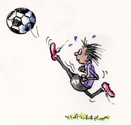 Funny ink and watercolor soccer girl action illustration by Joana Miranda