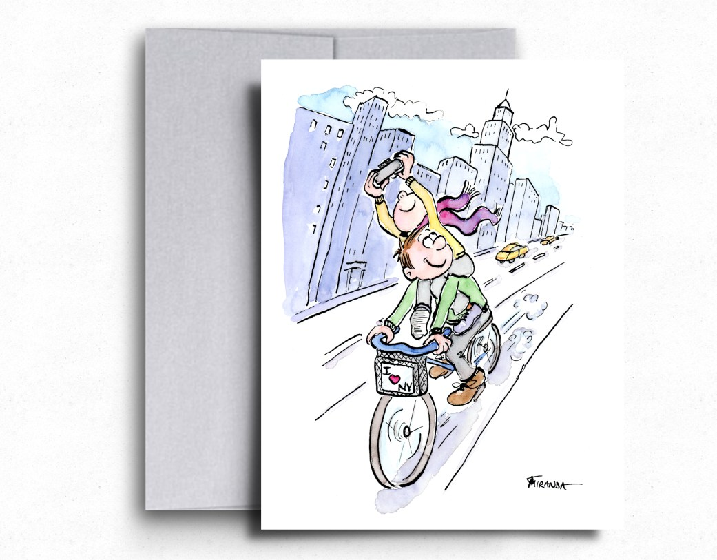 I love NY whimsical bicycle illustration by Joana Miranda