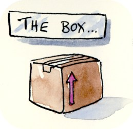 My Outside the Box Moleskine Art page started with drawing a simple cardboard cartoon box.