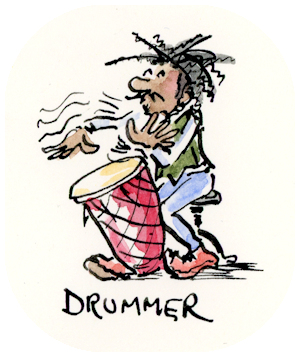 D is for Drummer whimsical ink and watercolor illustration by Joana Miranda