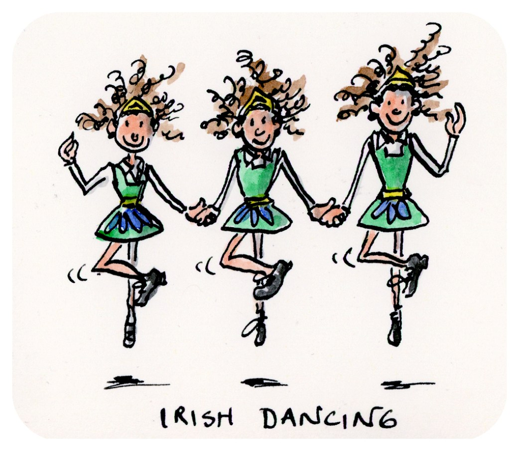 I is for Illustrate - Irish Dancing girls by Joana Miranda