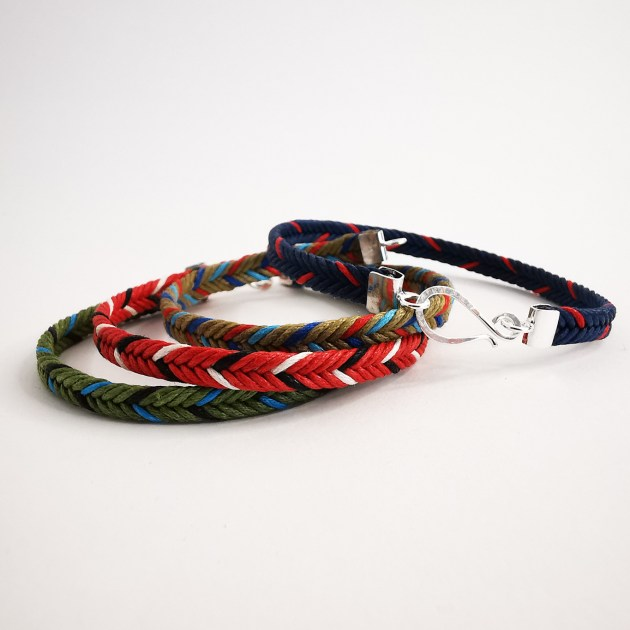 Silver and textile bracelet