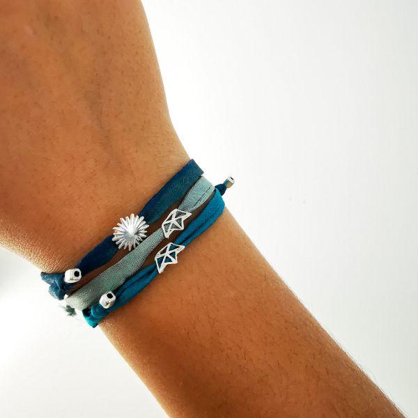 Silver and textil bracelet