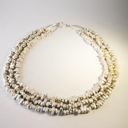 925 Silver and gemstones (hematite) necklace
