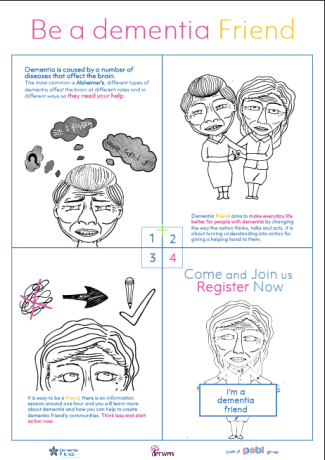 poster2 - to attract people through a comic style, read the poster by following the order and the main thing is to tell the audience that dementia people need help also talk about what is dementia friend