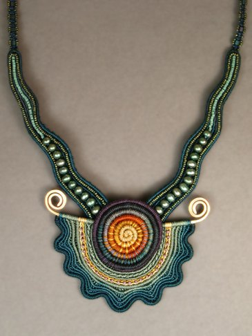Teal Spiral Necklace