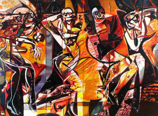 "Harlequin 38"" x 52"" Mixed Media on Canvas"