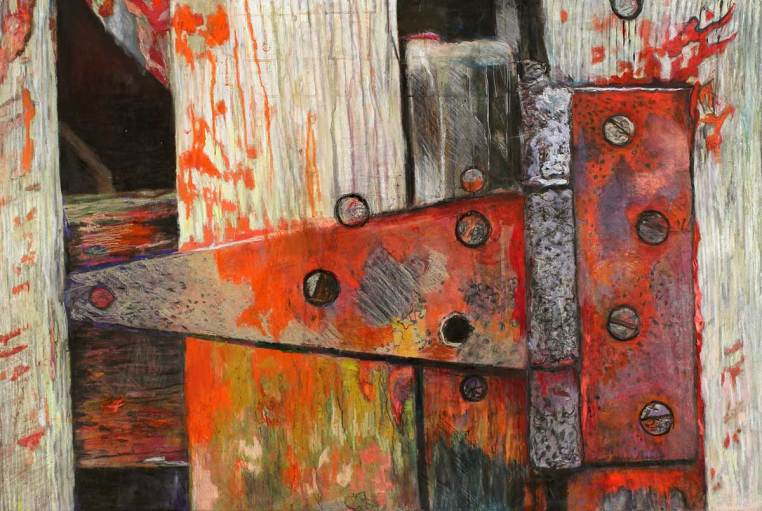 "Vibrant Latch II 33.5"" x 49.5"" Mixed Media on Canvas"