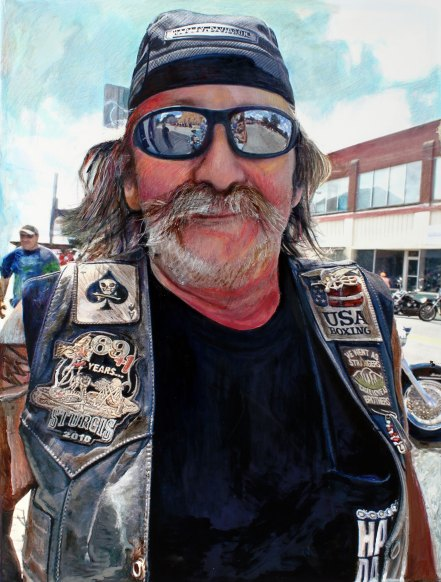 "Biker Vet 48"" x 36"" Mixed Media on Canvas"
