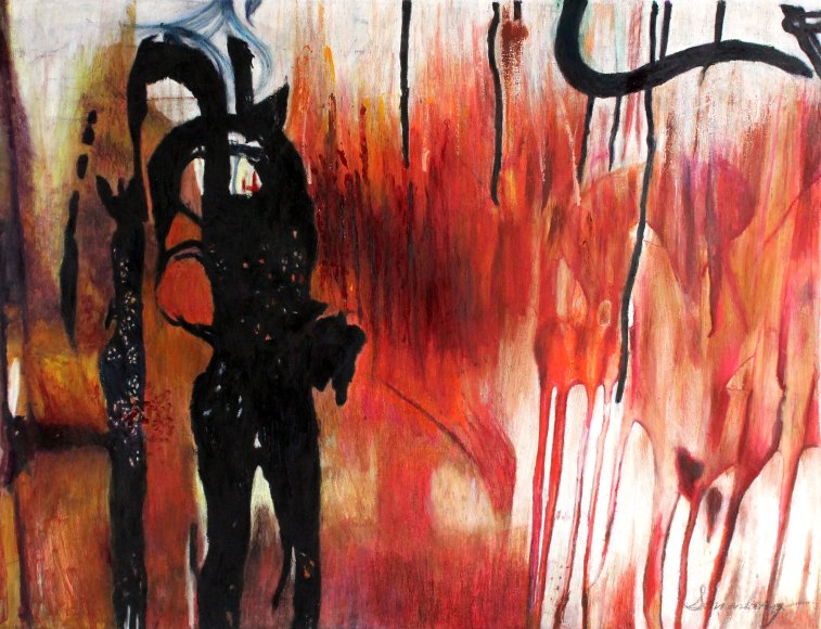 "Lady Of The Night 38"" x 51"" Mixed Media on Canvas"