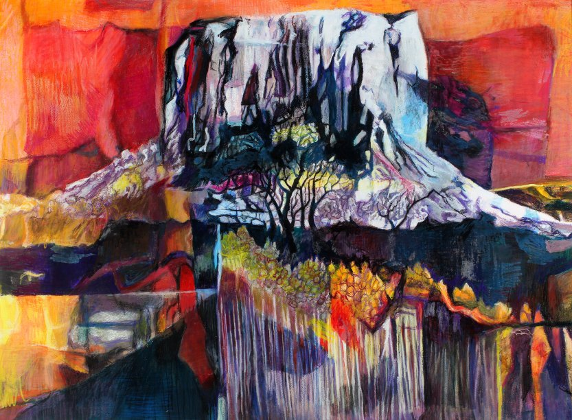 "Mt. Kilimanjaro Revisited 38"" x 53"" Mixed Media on Paper"