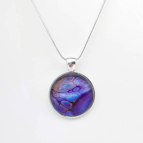 Collier à pendentif rond Purple Rain