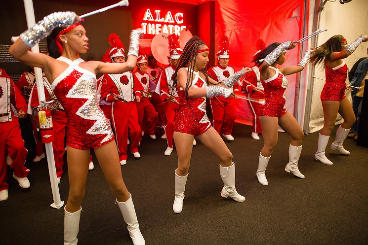 The majorettes in action during the opening number. PC: Gina Clyne/Art Los Angeles Contemporary