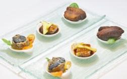 Plat de tapetes, paté de bonítol, foie amb compota de poma i reducció de Pedro Ximénez, Croquetes de calamars amb bolets