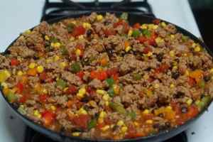 Taco Macaroni and Cheese - mixed ingredients