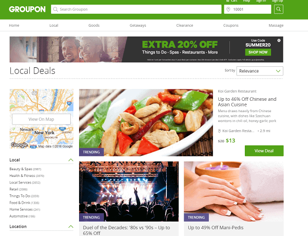 Groupon Front Page