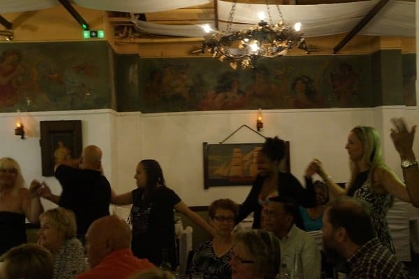 Dancing at dinner in Athens
