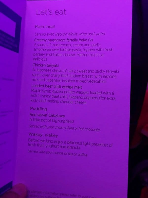 Virgin Atlantic Economy class menu