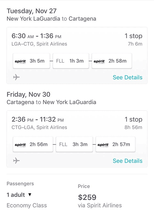 Traveling to Cartagena from NYC on Spirit Airlines
