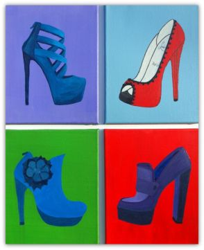 SHOES, PAINTING ON CANVAS, MIX MEDIA, ACRILIC, SIZE 4 X 24X30 CM (4 x 9,5x11,81 INCH), CATALOGUE NO. 68, STATUS: AVAILABLE