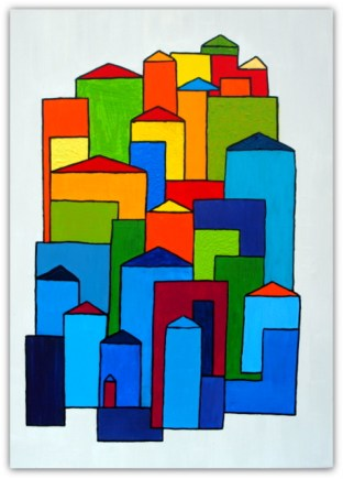 CITY, 2018, PAINTING ON CANVAS, ACRILIC, SIZE 50X70 CM (19,68 X27,56 INCH), CATALOGUE NO. 86, STATUS: AVAILABLE