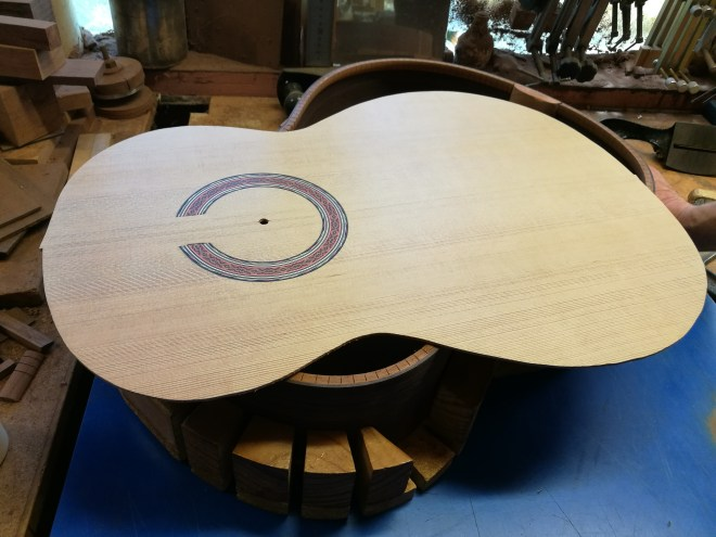 Richard Howell guitar in workshop