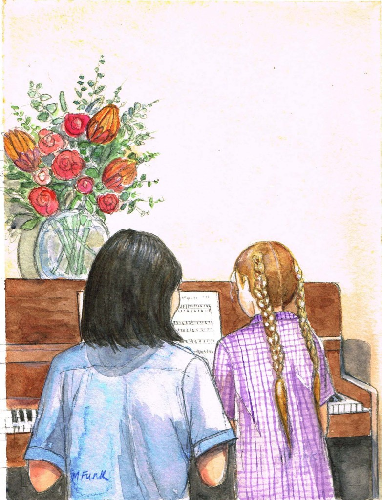 Watercolour image by Mary Funk of a piano teacher and a young female student