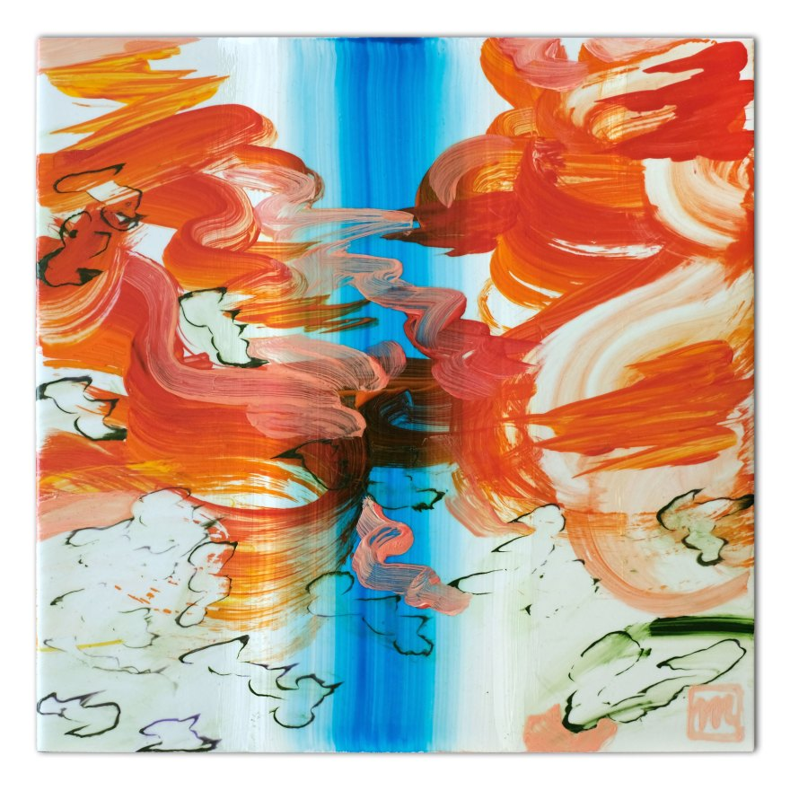 painting on ceramic tile inspired by Fall