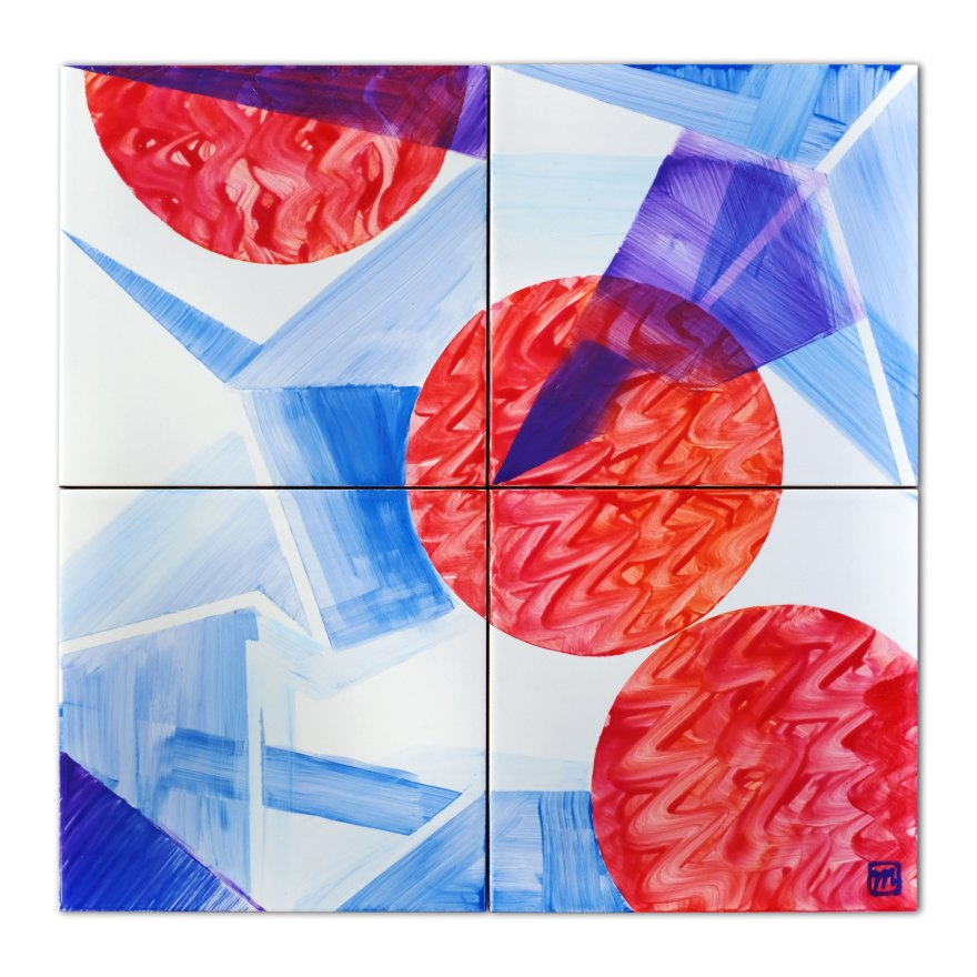 Painting on a set of ceramic tiles inspired by the Japanese art of Origami