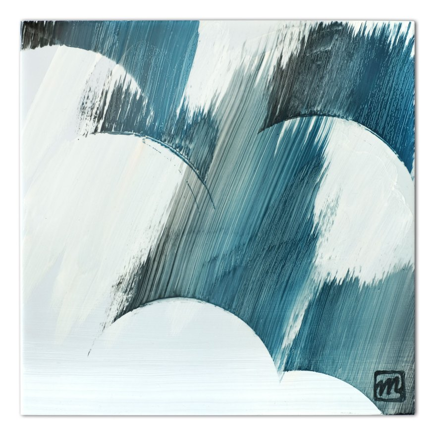 Painting on ceramic tile inspired by the rainy season in Japan